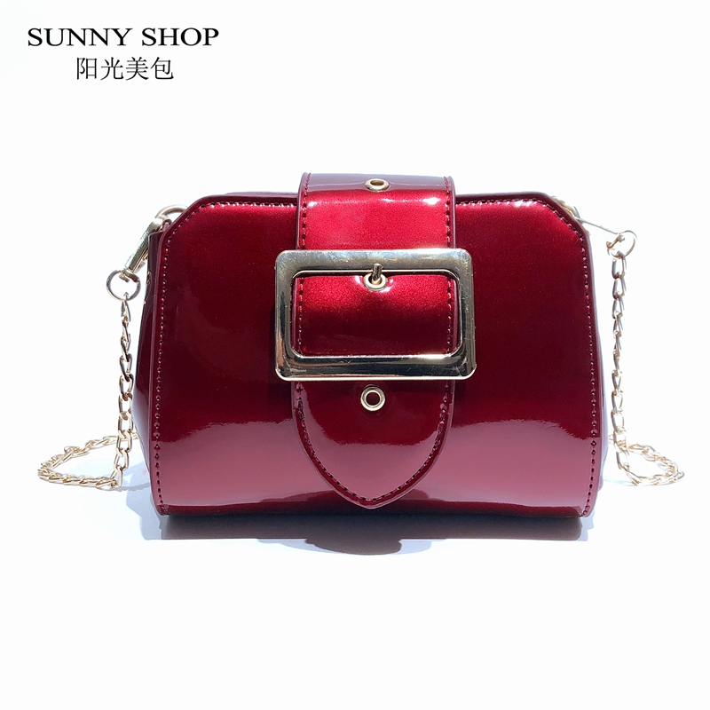 39649b6418e5 SUNNY SHOP 2018 Spring Chain Mini Women s Handbag Patent Leather Messenger  Bag Fashion Crossbody Bag Ladies Designer Wine Red-in Shoulder Bags from  Luggage ...