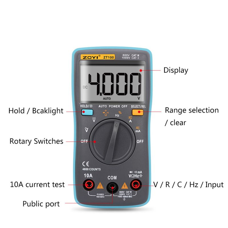 ZT100 Portable LCD Screen Digital Multimeter 4000 Counts Current Voltage Ohm Tester Auto Range Ammeter New
