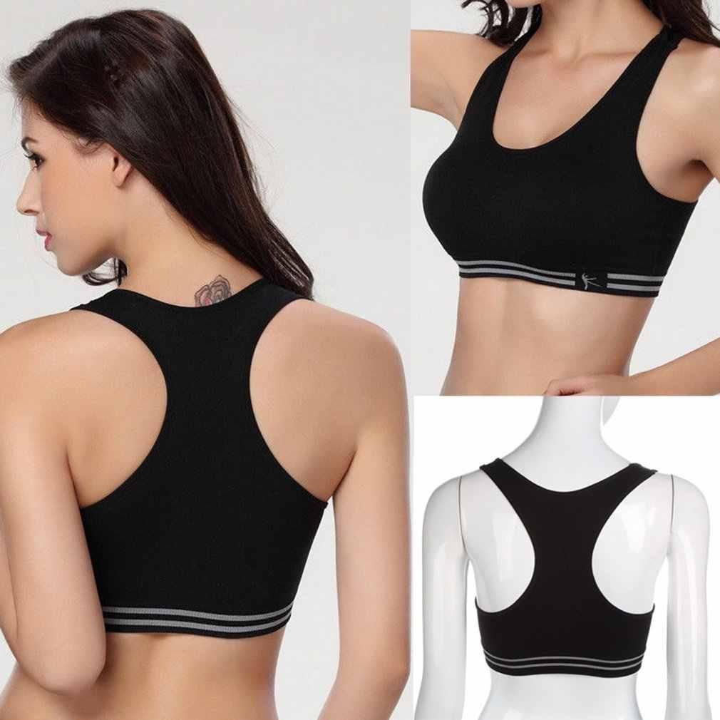 النساء سلس Racerback مبطن القطن الصلبة الرياضية الصدرية أعلى اليوغا اللياقة البدنية مبطن تمتد تجريب تانك الأعلى