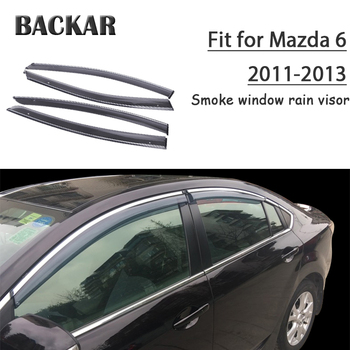 Backar 4pcs Auto Car Windows Rain Wind Sun Shield Deflector Visor Trim Accessories For Mazda 6 2011 2012 2013 All Weather