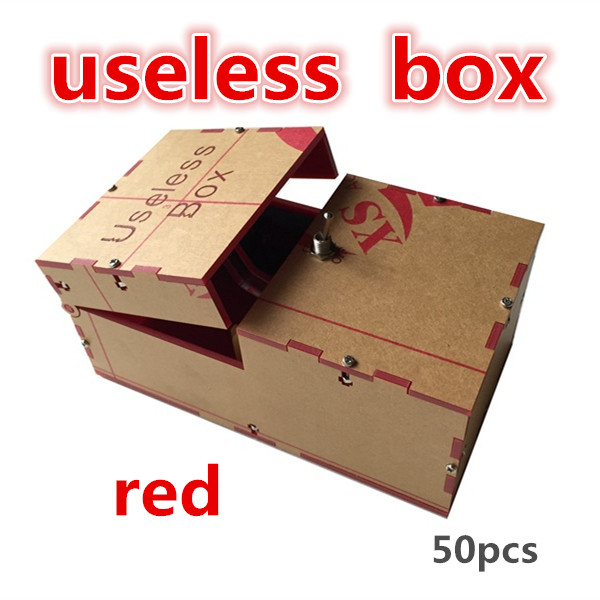 red 50pcs Useless Box Kit Leave Me Alone Box Great Geek Gift(Fully Assembled,DIY Version) freeshipping fun toys wholesale