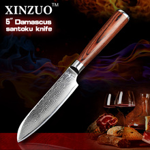 2016 HOT 5″ santoku knives Japanese VG10 Damascus steel chef knife kitchen knife fruit knife color wood handle FREE SHIIPPING