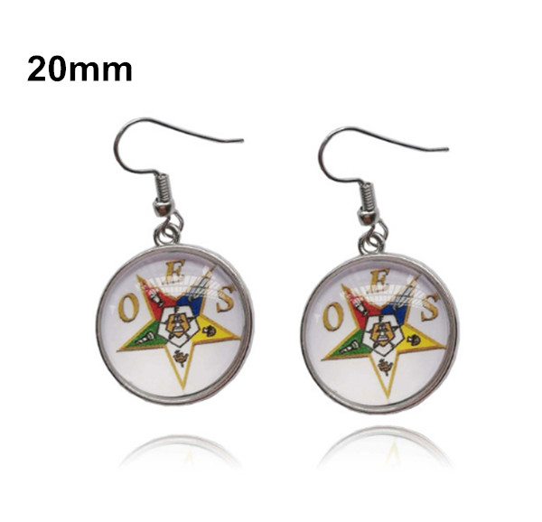 78a1ba074ec OES crest dangle earring steel glass making sorority fraternity DIY 20mm  cute decoration mixed sold 1pair