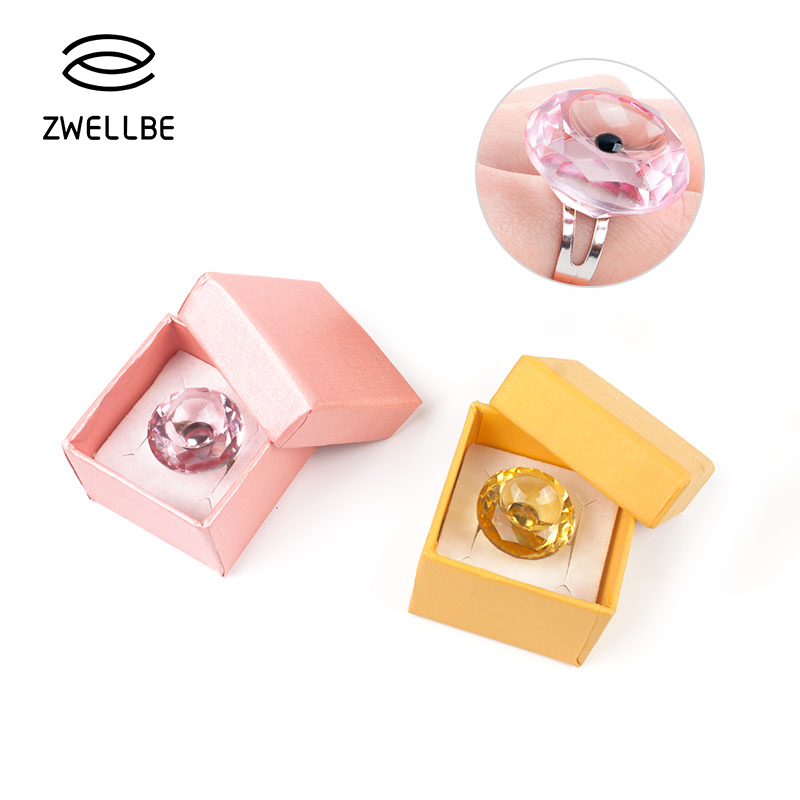 zwellbe Adjustable Glue Ring Crystal  Finger Ring Adhesive Eyelash Extension Pallet Holder Makeup Tool-in False Eyelashes from Beauty & Health
