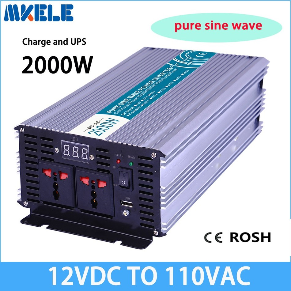 MKP2000-121-C off grid pure sine wave 2000w ups inverter 12vdc to 110vac solar inverter voltage converter with charger and UPS
