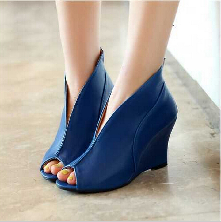 2017 Big Size Fashion High Heel Sandals Solid Open Toe Sandals Casual Wedge Sandals Dating/Dress\Women Shoes Free Shipping enmayer print wedge sandals new fashion pu women high heel sandals for women casual shoes bow summer shoes women big bohemia