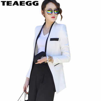 TEAEGG 2020 Hot Sale Women Blazers And Jackets White Spring Autumn Casual Long Women Suits Solid Female Jacket Plus Size AL794