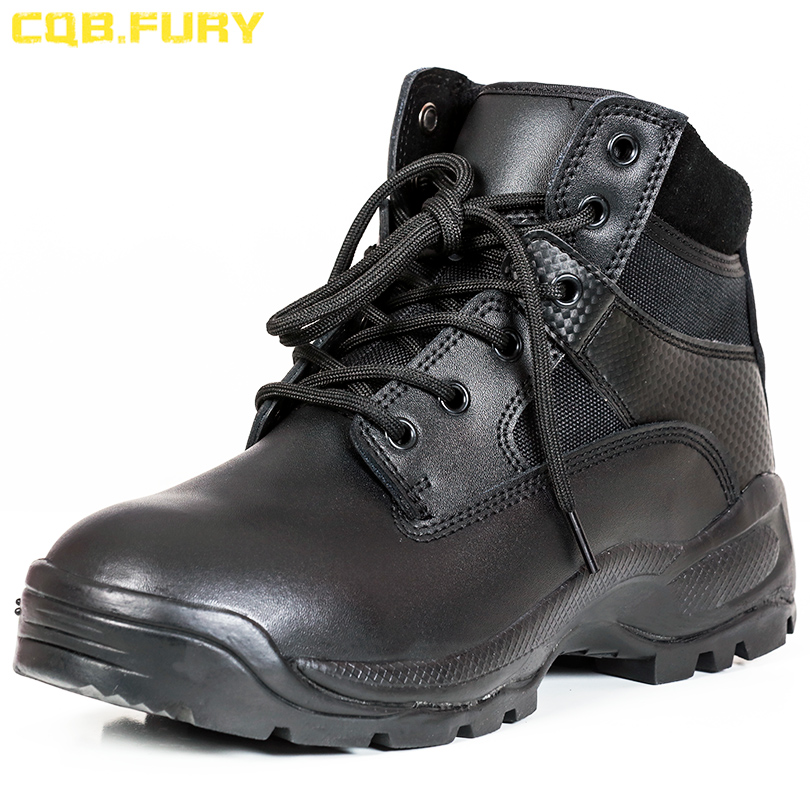 CQB FURY Split Leather Mens Military Boots Black zipper Tactical leather Boots Combat Wearable ankle strap