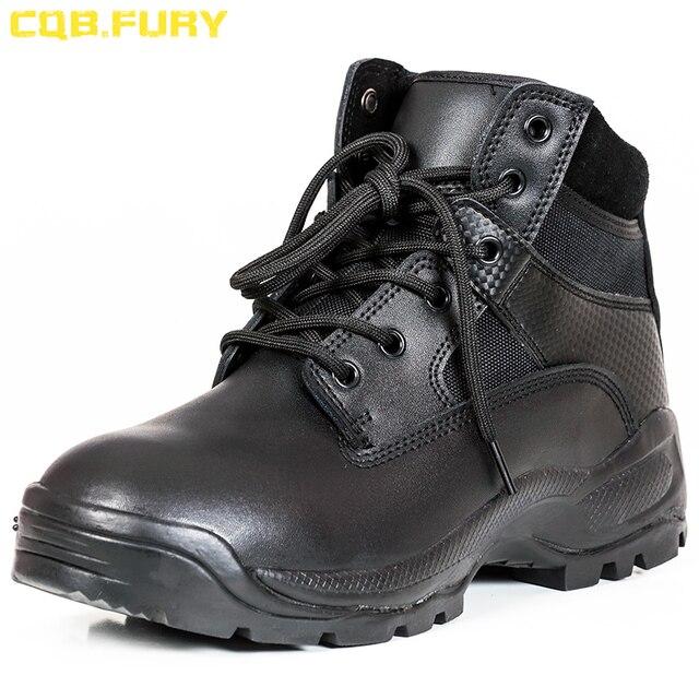 CQB. FURY Chia Leather Mens Khởi Động Quân Sự dây kéo Màu Đen da Chiến Thuật Khởi Động Chiến Đấu Wearable dây đeo mắt cá chân Quân Đội Khởi Động kích thước 38-46