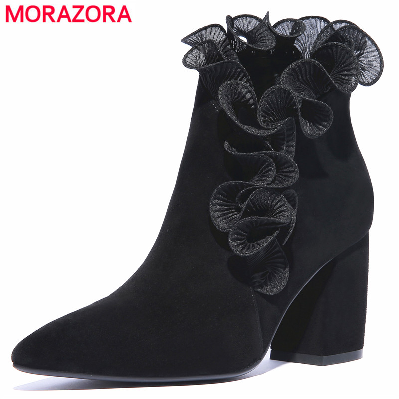 MORAZORA 2018 new fashion suede leather boots Ruffles ladies high heels ankle boots for women autumn winter woman booties shoesMORAZORA 2018 new fashion suede leather boots Ruffles ladies high heels ankle boots for women autumn winter woman booties shoes