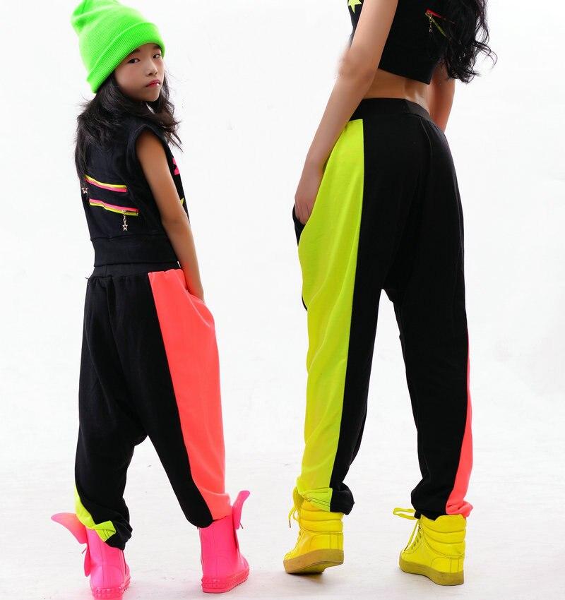 Enfants adultes Harem Hip Hop danse pantalons pantalons de survêtement Performance Costumes femme scène porter néon Jazz pantalon