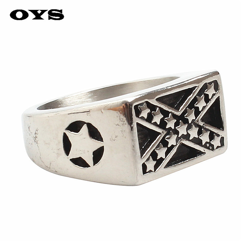 Retro Personality Soldier Cross Ring 316L Stainless Steel Biker Cross Stars Ring Free Shipping Wholesale