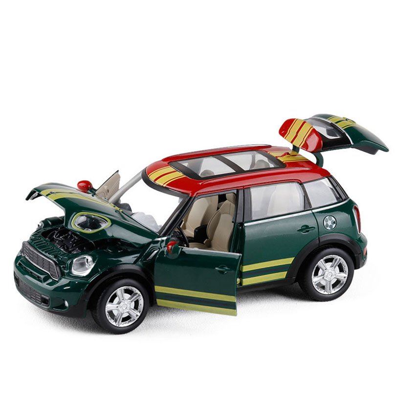 1:28 Simulation Mini Cooper Toy Vehicles Model Alloy Pull Back Children Toys Genuine License Collection Gift Acousto-Optic Car