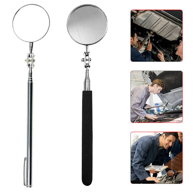 Traffic Mirror Telescopic Inspection Mirror Telescoping Handle 360 Swivel for Extra Viewing Universal Tool