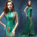 women green lace backless chinese collar modern cheongsam evening dresses short in front with long trailing sexy 2017 new