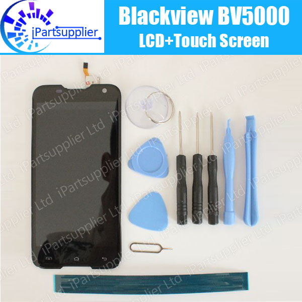 Blackview BV5000 Display LCD + Touch Screen 100% LCD Originale Digitizer Vetro del Pannello di Ricambio Per Blackview BV5000 + strumento + adesivo