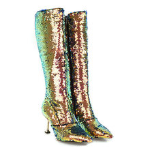 Lasyarrow Autumn Winter High Heels Sexy Knee High Boots Gold Silver Knight  Boots Glitter Bling Bling ffd96016f1c6