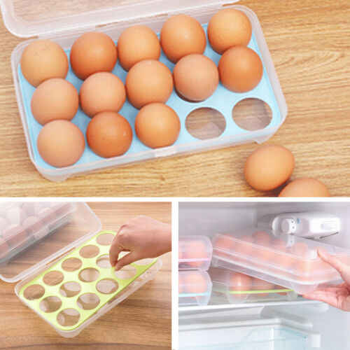 15 Eggs Holder Refrigerator Container Kitchen Storage Foldable Home Box Plastic