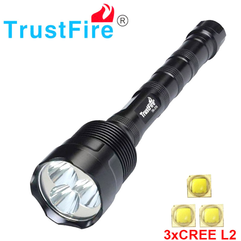 Trustfire 3L2 3800 lumens  flashlight 3X CREE XM-L2 5Mode LED Flashlight Torch Lamp can use 2x 18650 / 3x 18650 torch lamp rechargeable flashlight led torch xm l t6 xm l2 waterproof 3800 lumen 5 mode lanterna camping flashlight lamp batteries 18650