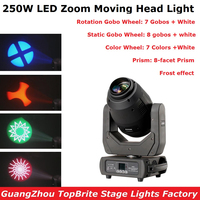 1Pc 250W LED Lyre Moving Head Light Beam Spot Wash Zoom 4IN1 Wedding Effect Dj Light DMX Party Light LED Moving Head Beam Lights