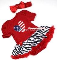 Valentine Red Hot en amérique drapeau coeur bébé combinaison fille robe Hot Red Zebra jupe NB-12M MAJSA0340