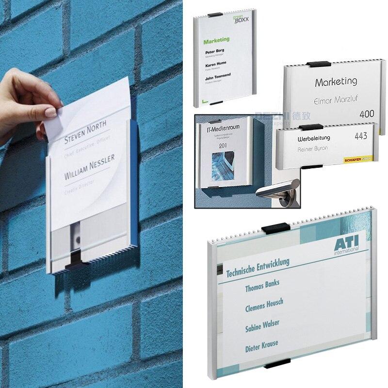DEZHI-Aluminium Alloy Office Indoor Horizontal/Vertical Wall Mount Sign Holder Display INFO Poster Door Sign Bulletin Board