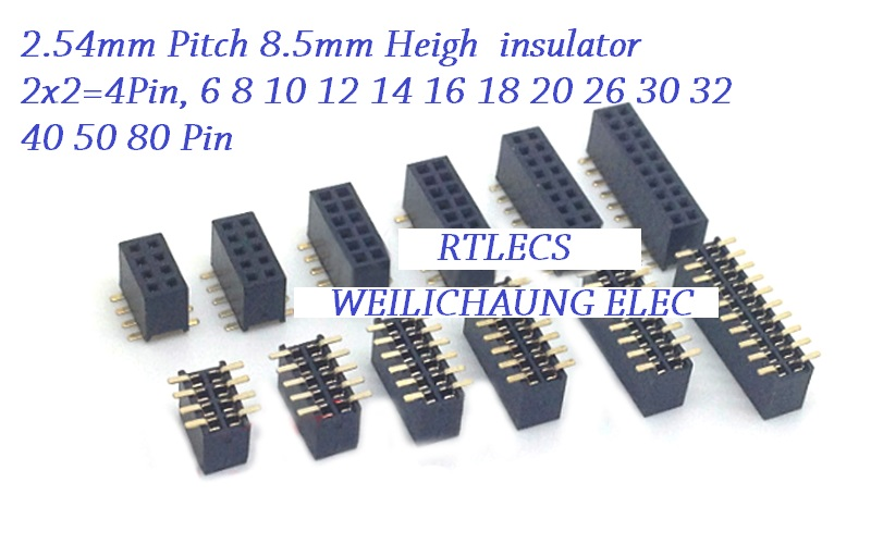 цены 100pcs 2.54mm PCB Female Header Dual Row Pin Header SMD /SMT 4 Pin 6 8 10 12 14 16 18 20 24 26 30 40 50 60 80 Pin 8.50 Height