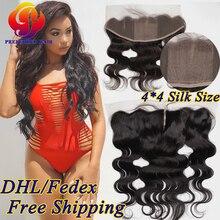 Silk Lace Frontal Closure Body Wave Brazilian Silk Base Frontal Closure Ear To Ear Baby Hair Nape Closure Silk Top Frontal Piece