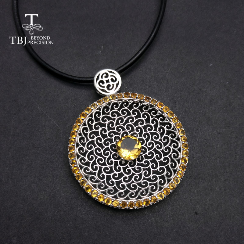 TBJ , Luxury big natural citrine gemstone pendants in 925 sterling silver Brand Design Shiny gemstone pendant with leather cordTBJ , Luxury big natural citrine gemstone pendants in 925 sterling silver Brand Design Shiny gemstone pendant with leather cord