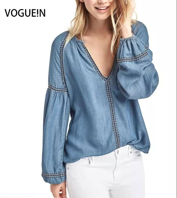 VOGUE!N New Womens Sexy V Neck Embroidery Long Sleeve