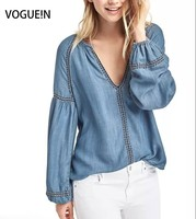 VOGUE N New Womens Sexy V Neck Long Sleeve Denim Jeans Pullover Blouse Tops Shirt Wholesale