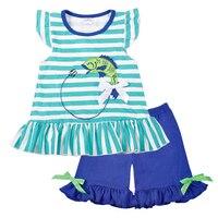 Toptan Bebek Kız Giysileri Yaz Mavi Kolsuz Üst Balık Nakış Dekor Desen Moda Fırfır Şort Eşleşen Boy T-shirt