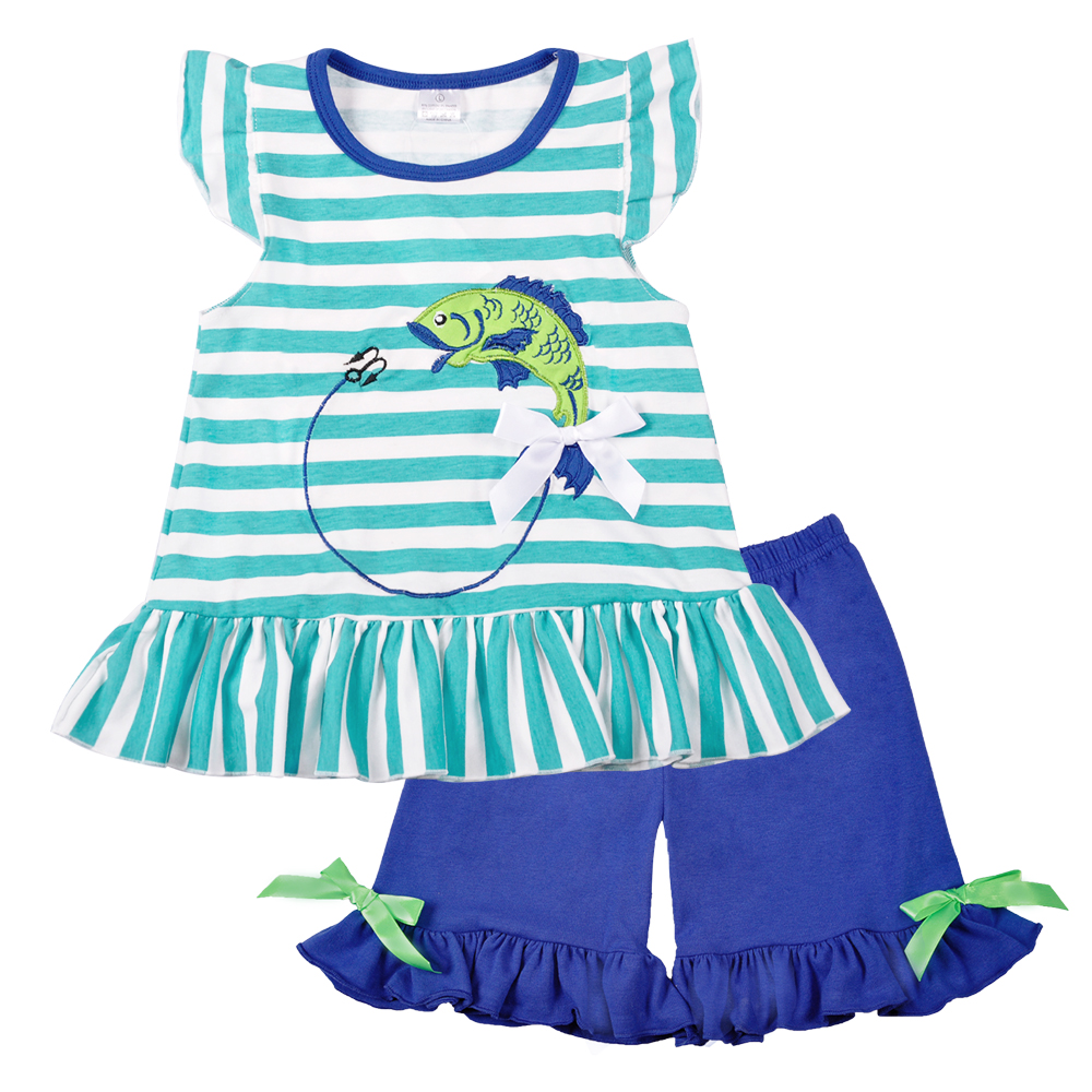 Wholesale Baby Girl Clothes Summer Blue Sleeveless Top Fish Embroidery Decor Pattern Fashion Ruffle Shorts Matching Boy T-shirt stripe pattern shirt with embroidery details