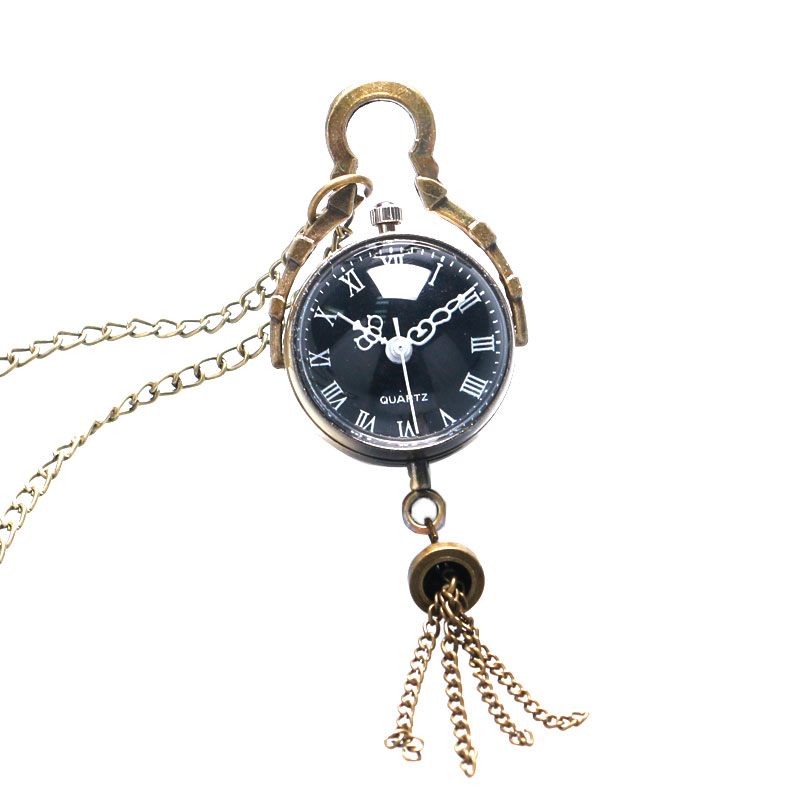 Retro Vintage Fish Eye Black Dial Glass Ball Long Chain Necklace Pendant Pocket Watch P12