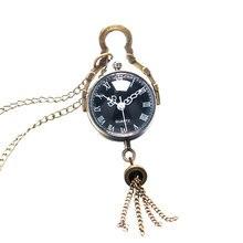 Retro Vintage ojo de pez esfera negra bola de cristal cadena larga COLLAR COLGANTE reloj de bolsillo P12