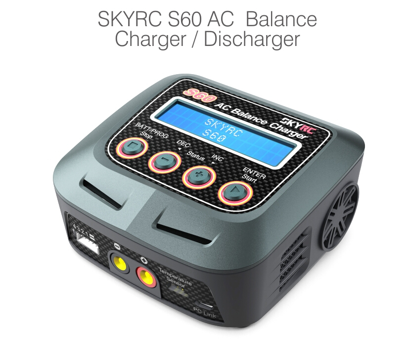 SKYRC S60 AC Balance Charger for Li-Po Ni-Cd Ni-Mh 100 -240V 60W RC Battery Multi Charging Modes for RC Airplane Multicopter