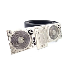 Vintage Leather Belts for men with music series of silver dj playing disc players turntables metal belt buckle cinturones hombre(China)
