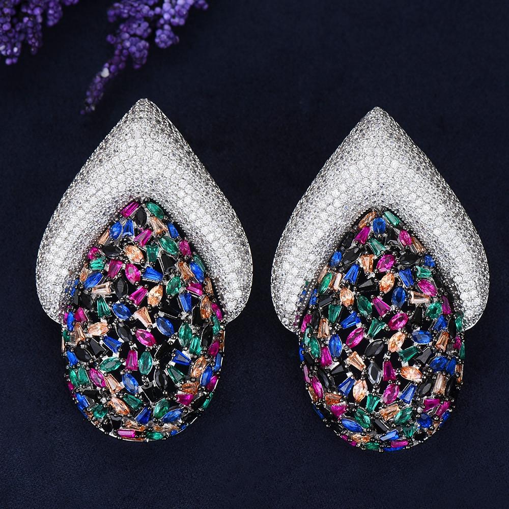 5 couleurs plein AAA cubique zircone charme boucle d'oreille femme luxe grand boucles d'oreilles bijoux dames cadeau femmes accessoires - 3