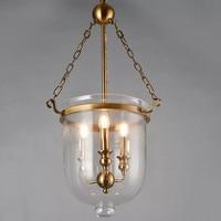 Classical Loft LED Pendant Lights Iron Chain Gold Lamp Body Dinner room Lamp Parlor Bedroom Vintage Pendant Lamp 3 Bulbs 90 260V