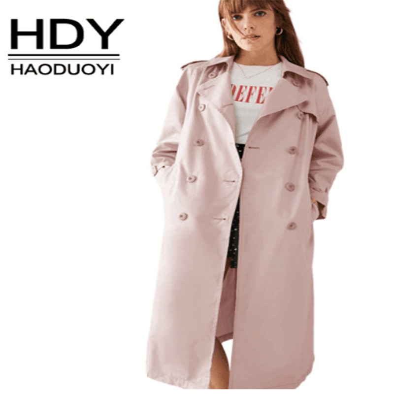 Haoduoyi 2018 new Women Two Colors Green/Pink Elegant   Trench   Coats Lace Up Office Lady Slim Outwears Buttons long Coats