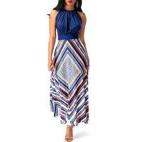 FLYMALL Women Sexy Chiffon Print Sleeveless Dresses 2018 Fashion Workwear Loose Bohemian Style Maxi Dress Evening