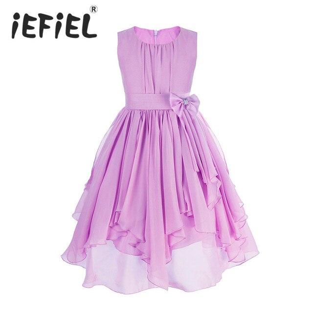 96b426f8 US $19.99 |2 do 13 Lat Dziewczyny Odzież Dress Fioletowy Niebieski czerwona  Sukienka Księżniczki Sress Roupas Infantis Menina Kwiat Dziewczyny ...