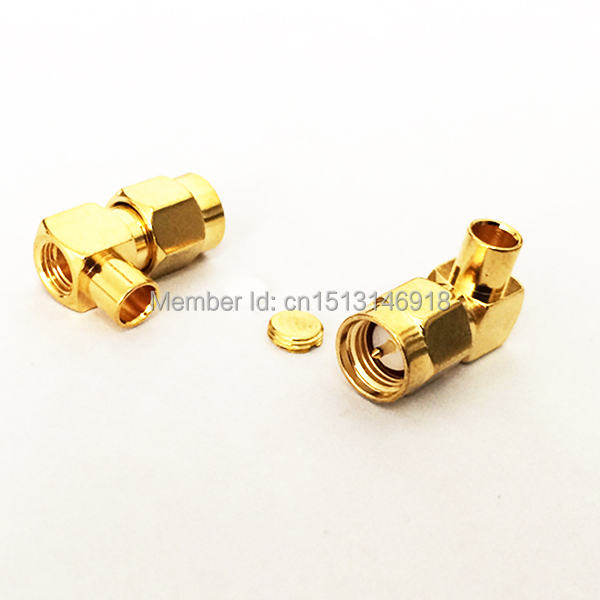1pc  SMA  Male Plug RF Coax Connector Solder Cable RG402,141  Right  Angle  Goldplated  NEW wholesale