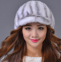 Fashion Genuine Mink Fur Women Winter Hats Luxury Outdoor Sports Female Fur Baseball Caps