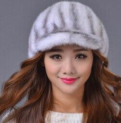 Fashion Genuine Mink fur Women Winter Hats , luxury Outdoor sports Female Fur baseball caps