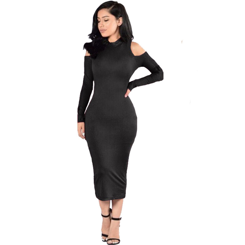 2016 Autumn Off Shoulder Long Sleeve Bodycon Sexy Sweater Dress Women Party Black Dress Vestidos Winter Knitted Dresses sweet off the shoulder long sleeve bodycon sweater dress for women