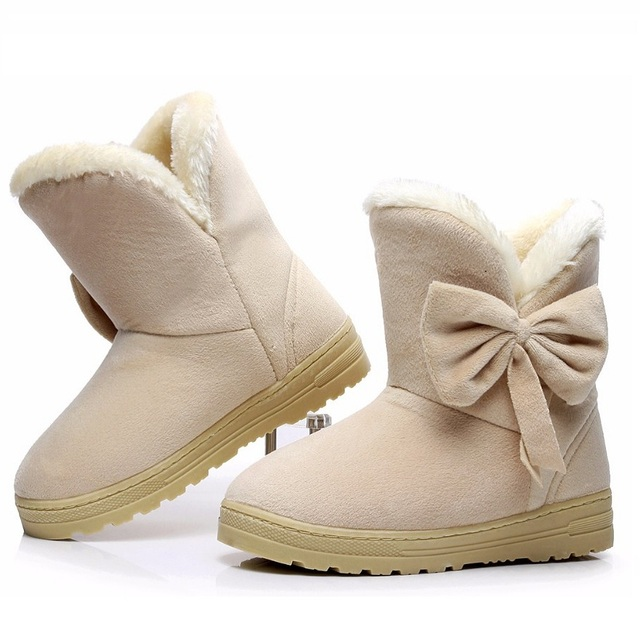 2016 Nuevas Mujeres Botas de Invierno de Gamuza Botas de Nieve Del Tobillo de Piel Femenina Zapatos Calientes Australia Niñas Bowtie Calidad Botas Botas Mujer