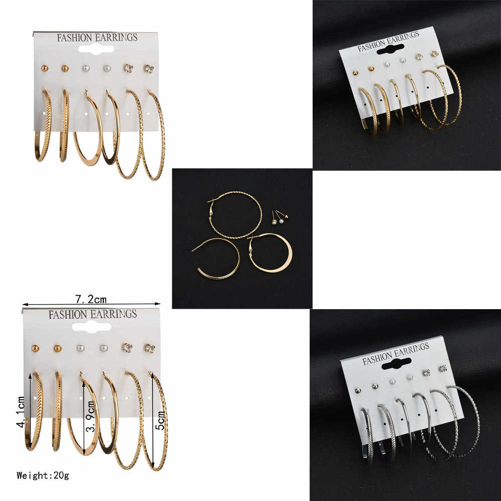 Fashion women Earrings Ear Ring Set Combination Of 6 Sets of large circle aretes de mujer