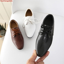 Кожаная обувь для мальчиков; Детские кожаные свадебные туфли оксфорды; дизайнерские черные школьные повседневные модельные туфли для детей