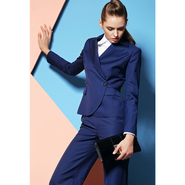 Custom Made Royal Blue Women Business Suits Formal Office Pants